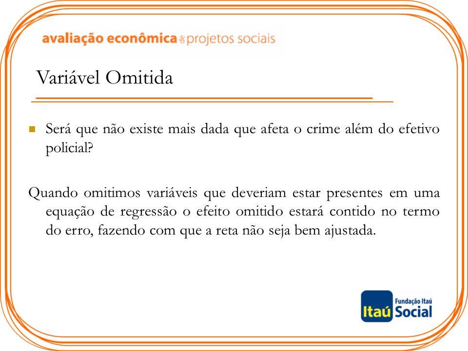 Variável Omitida Será que não existe mais dada que afeta o crime além do efetivo policial