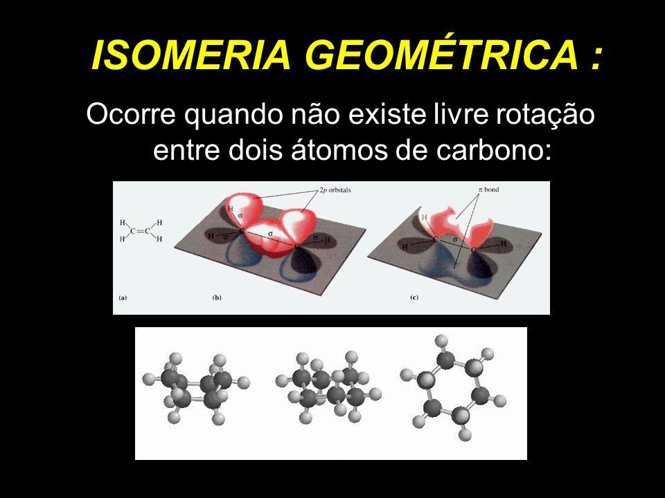 Ocorre quando não existe livre rotação entre dois átomos de carbono: