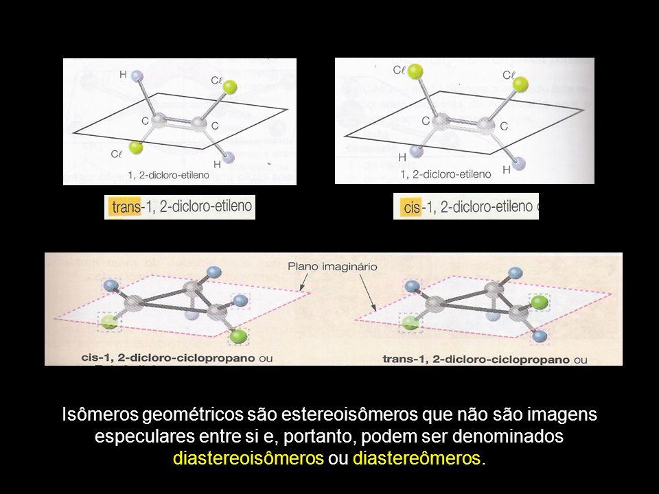 Isômeros geométricos são estereoisômeros que não são imagens especulares entre si e, portanto, podem ser denominados diastereoisômeros ou diastereômeros.