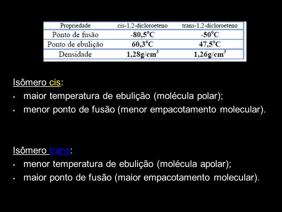 Isômero cis: maior temperatura de ebulição (molécula polar); menor ponto de fusão (menor empacotamento molecular).