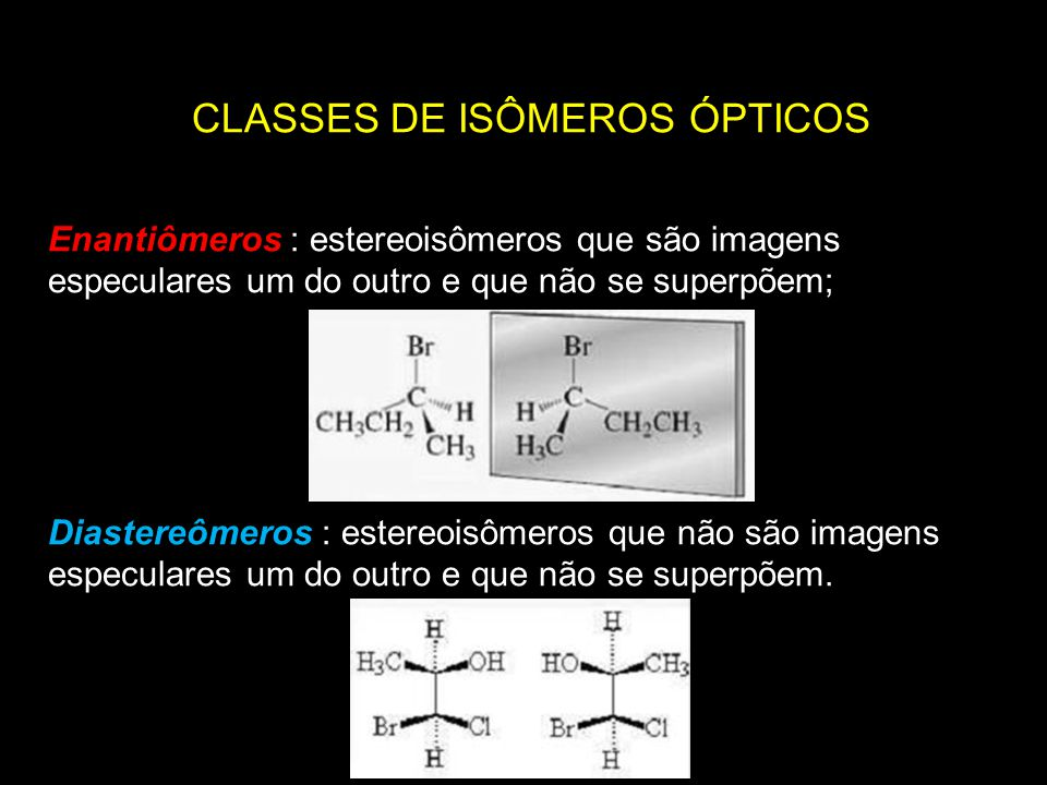 CLASSES DE ISÔMEROS ÓPTICOS