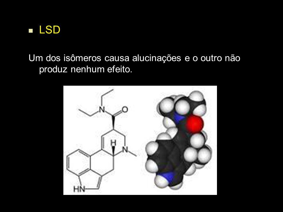 LSD Um dos isômeros causa alucinações e o outro não produz nenhum efeito.