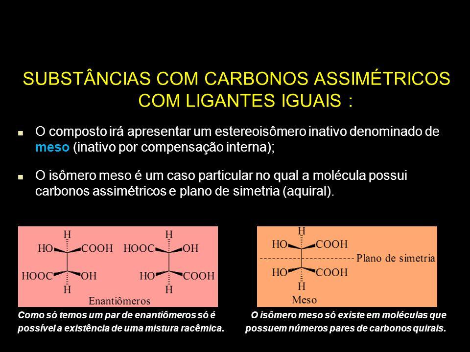 SUBSTÂNCIAS COM CARBONOS ASSIMÉTRICOS COM LIGANTES IGUAIS :