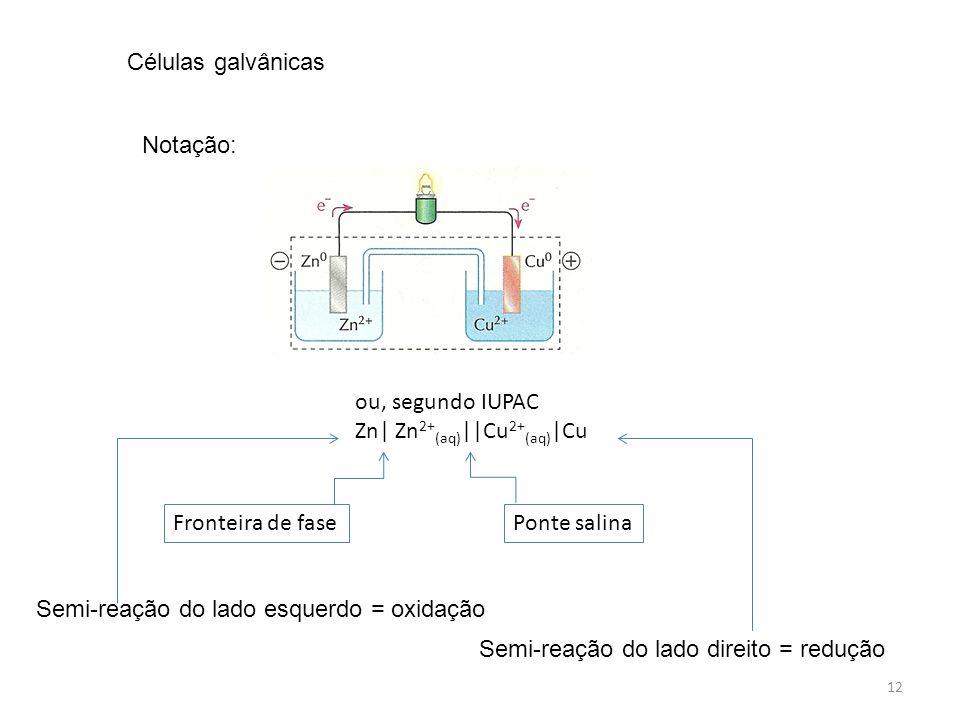 Células galvânicas Notação: ou, segundo IUPAC. Zn| Zn2+(aq)||Cu2+(aq)|Cu. Fronteira de fase. Ponte salina.