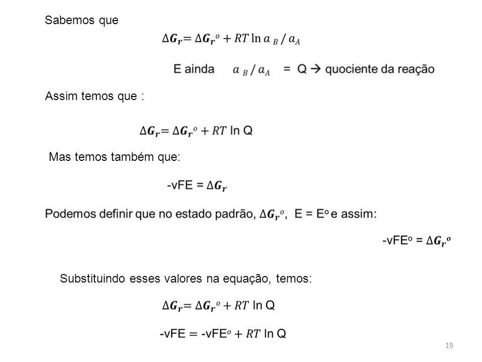 Sabemos que Assim temos que : Mas temos também que: Substituindo esses valores na equação, temos: