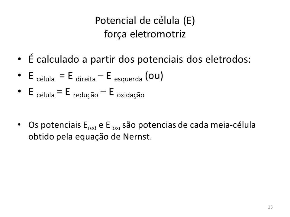 Potencial de célula (E) força eletromotriz