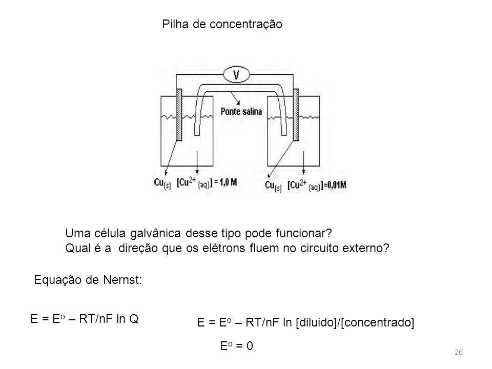 Pilha de concentração Uma célula galvânica desse tipo pode funcionar Qual é a direção que os elétrons fluem no circuito externo