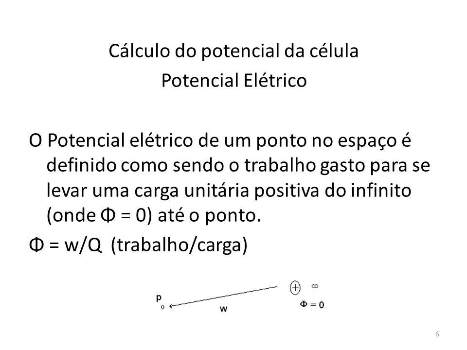 Cálculo do potencial da célula Potencial Elétrico O Potencial elétrico de um ponto no espaço é definido como sendo o trabalho gasto para se levar uma carga unitária positiva do infinito (onde Φ = 0) até o ponto.