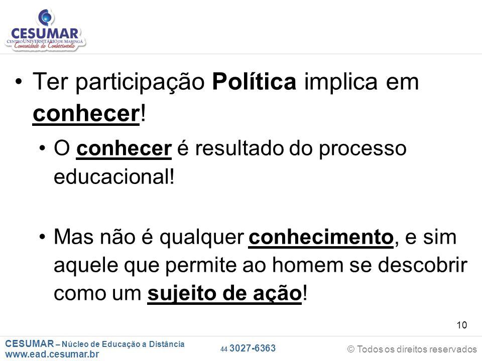 Ter participação Política implica em conhecer!