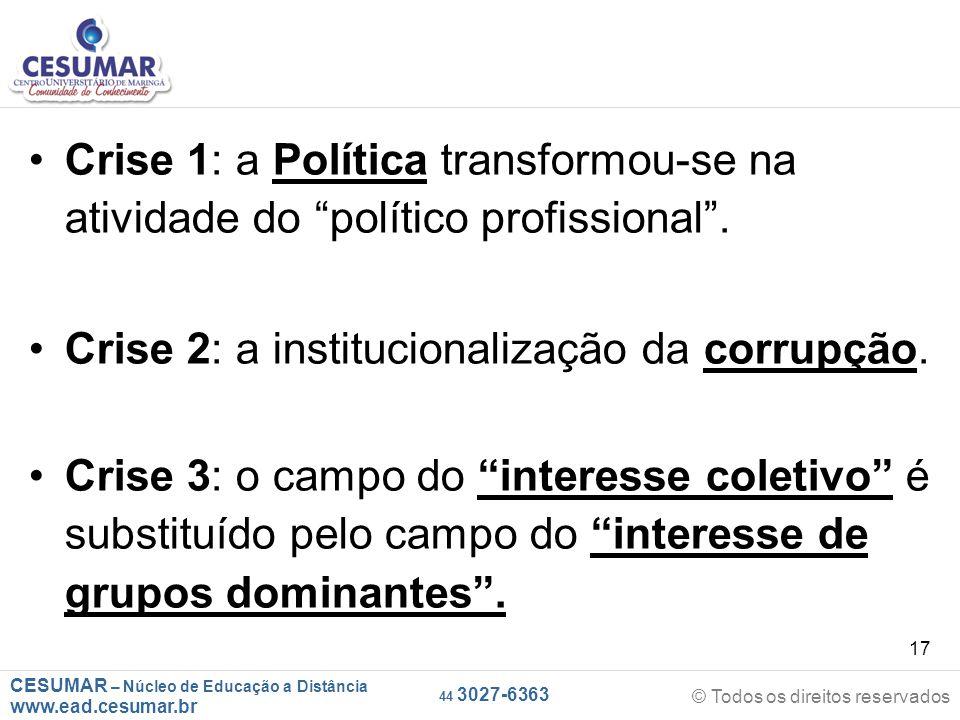 Crise 1: a Política transformou-se na atividade do político profissional .