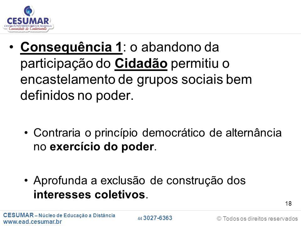 Consequência 1: o abandono da participação do Cidadão permitiu o encastelamento de grupos sociais bem definidos no poder.