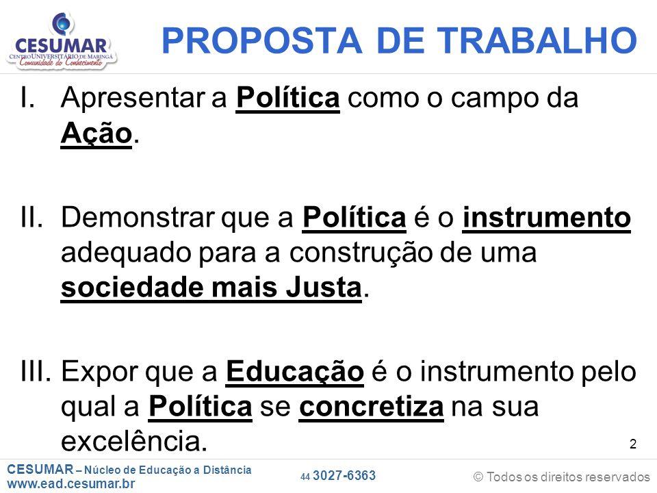 PROPOSTA DE TRABALHO Apresentar a Política como o campo da Ação.