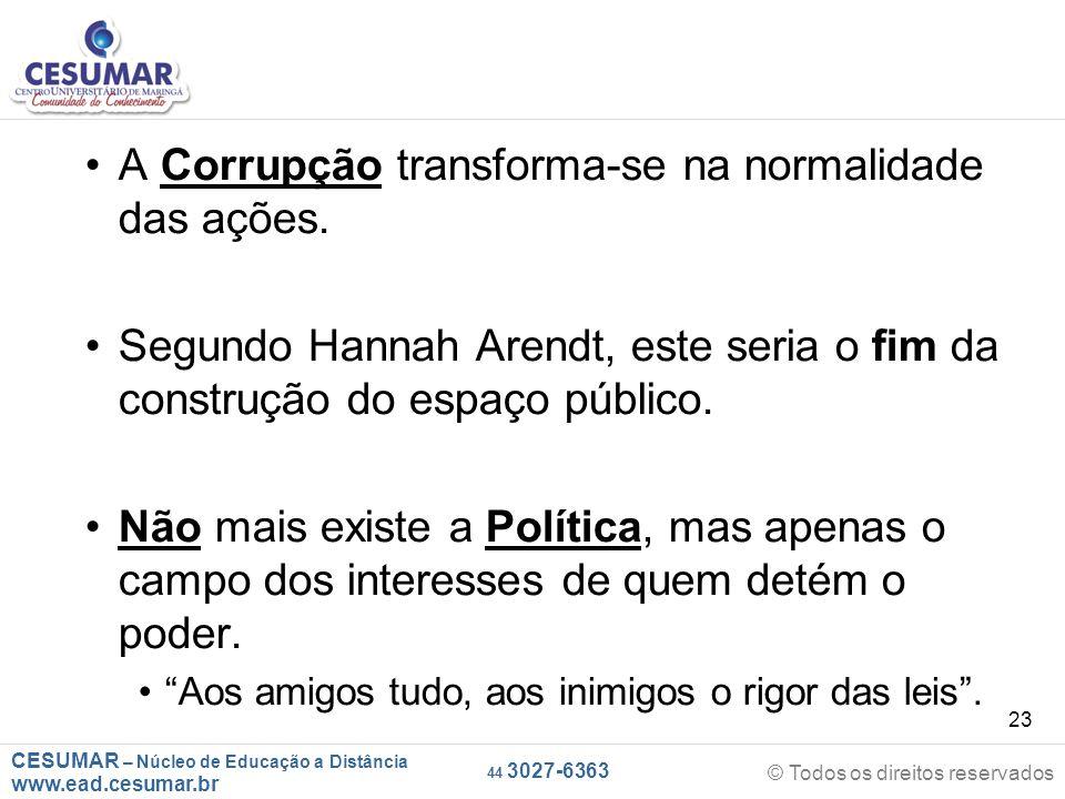 A Corrupção transforma-se na normalidade das ações.