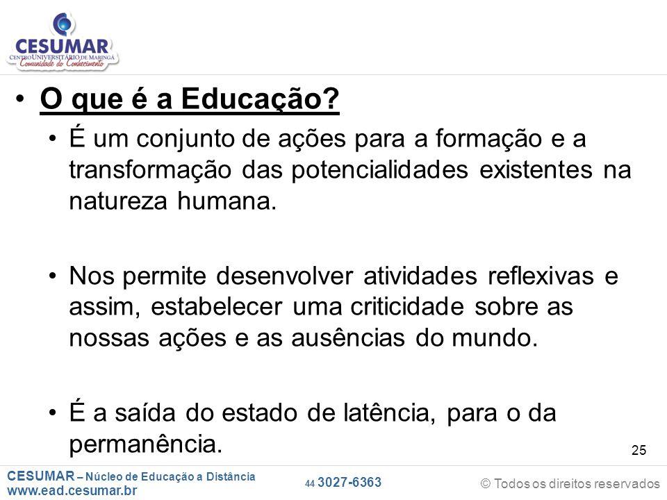 O que é a Educação É um conjunto de ações para a formação e a transformação das potencialidades existentes na natureza humana.