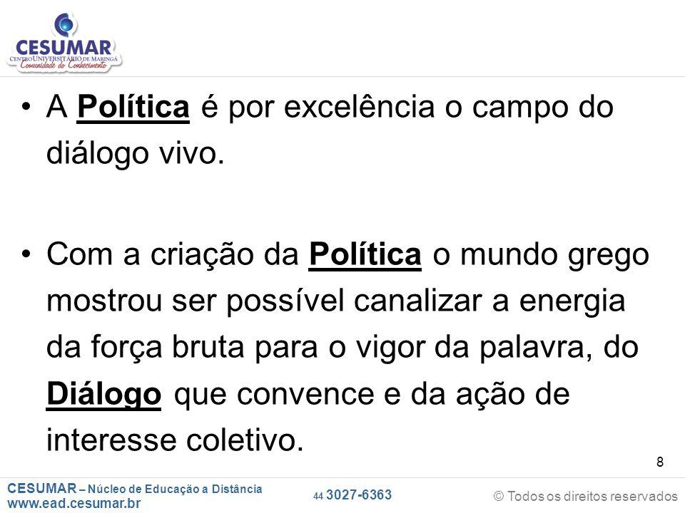 A Política é por excelência o campo do diálogo vivo.
