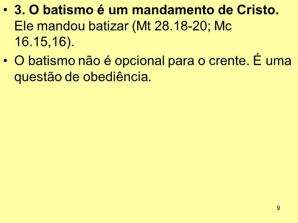 O batismo não é opcional para o crente. É uma questão de obediência.