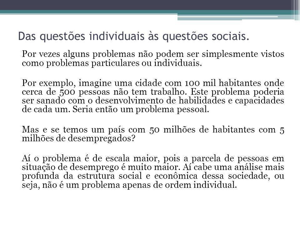 Das questões individuais às questões sociais.