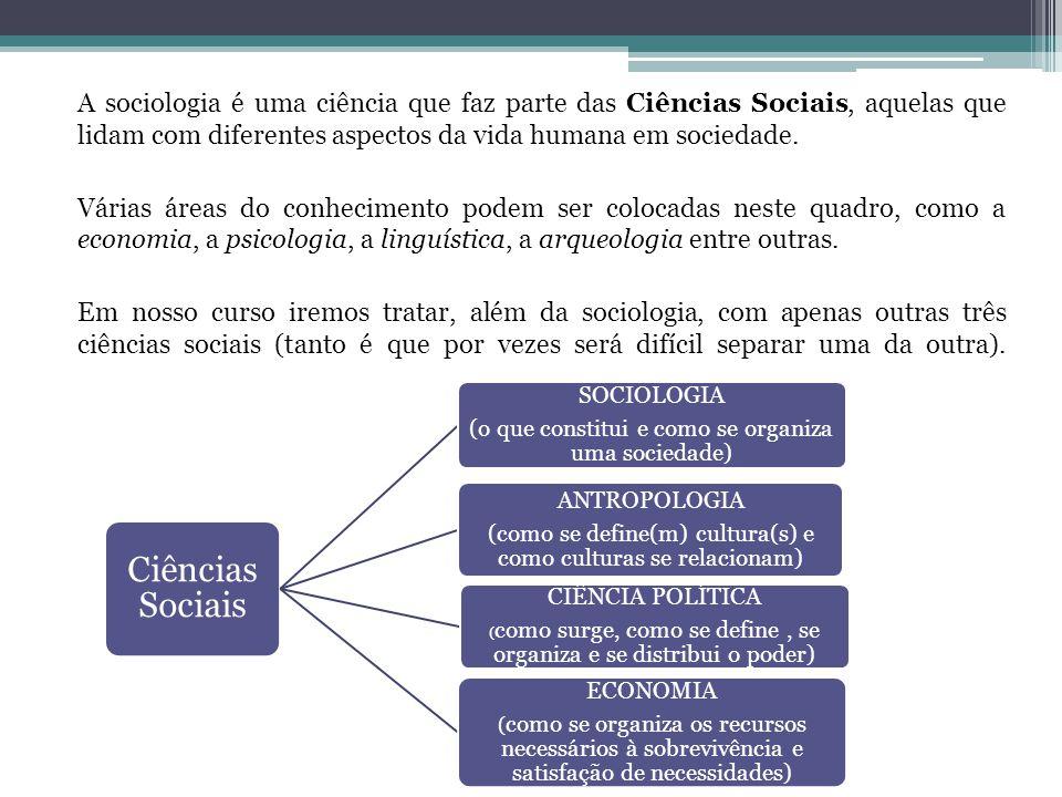 A sociologia é uma ciência que faz parte das Ciências Sociais, aquelas que lidam com diferentes aspectos da vida humana em sociedade. Várias áreas do conhecimento podem ser colocadas neste quadro, como a economia, a psicologia, a linguística, a arqueologia entre outras. Em nosso curso iremos tratar, além da sociologia, com apenas outras três ciências sociais (tanto é que por vezes será difícil separar uma da outra).