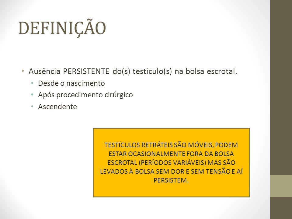 DEFINIÇÃO Ausência PERSISTENTE do(s) testículo(s) na bolsa escrotal.