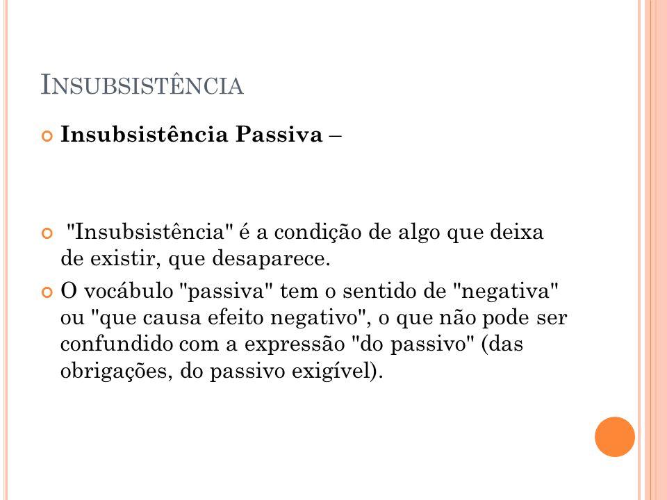Insubsistência Insubsistência Passiva –