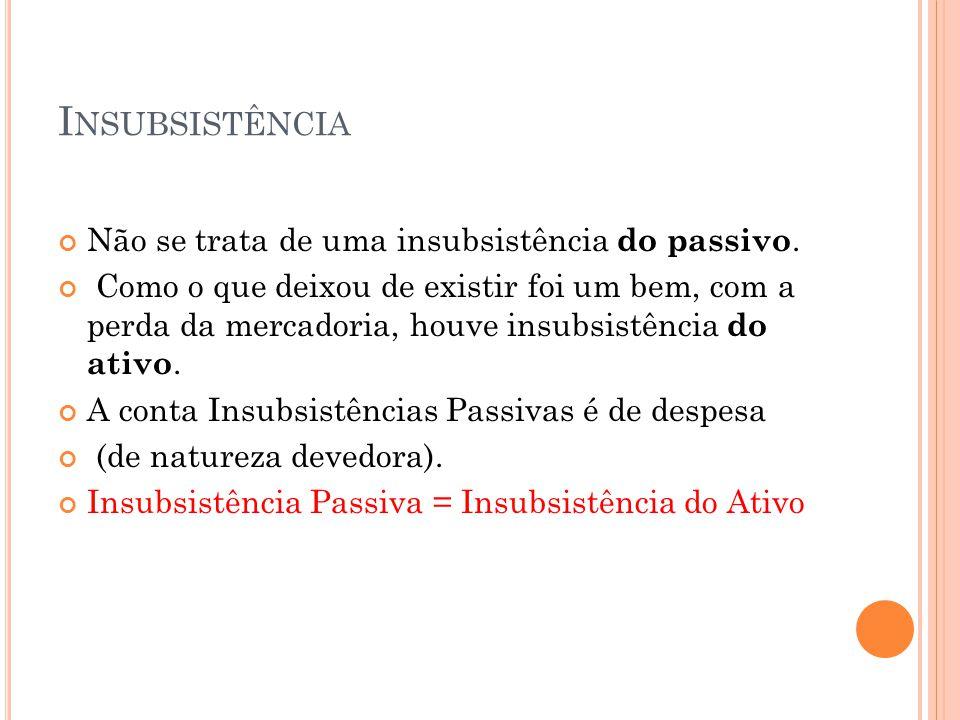 Insubsistência Não se trata de uma insubsistência do passivo.