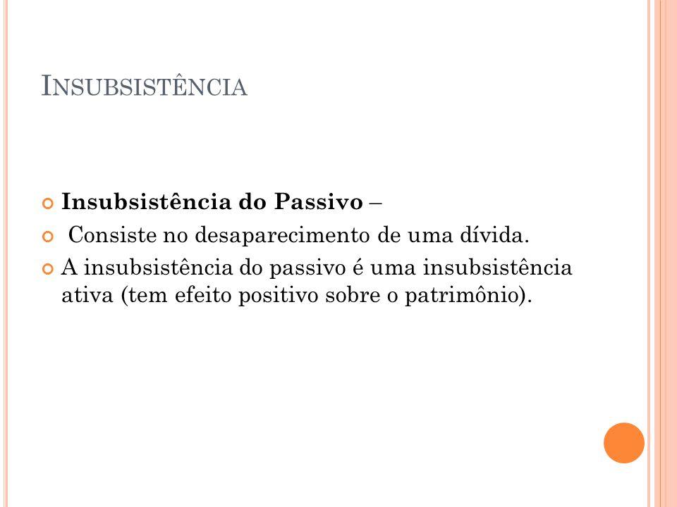 Insubsistência Insubsistência do Passivo –