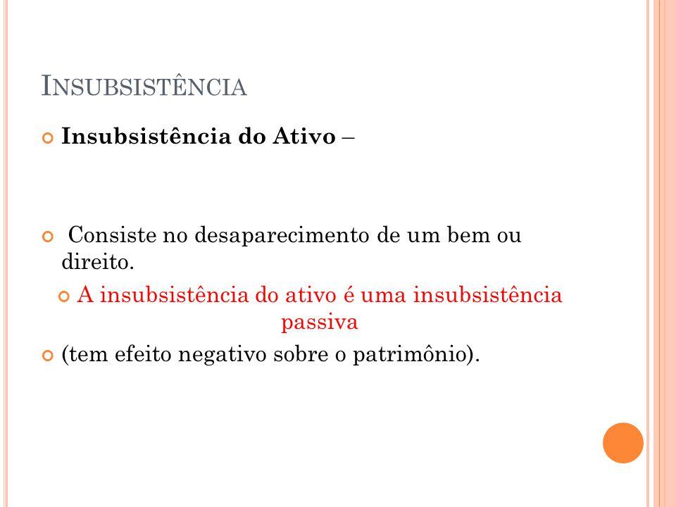 A insubsistência do ativo é uma insubsistência passiva