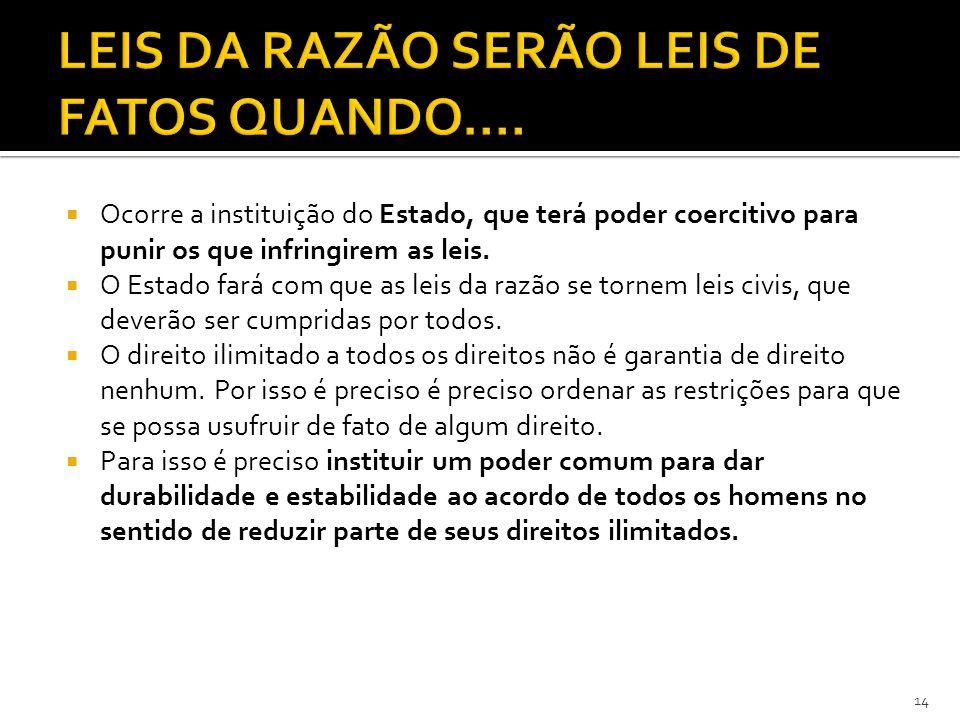 LEIS DA RAZÃO SERÃO LEIS DE FATOS QUANDO....