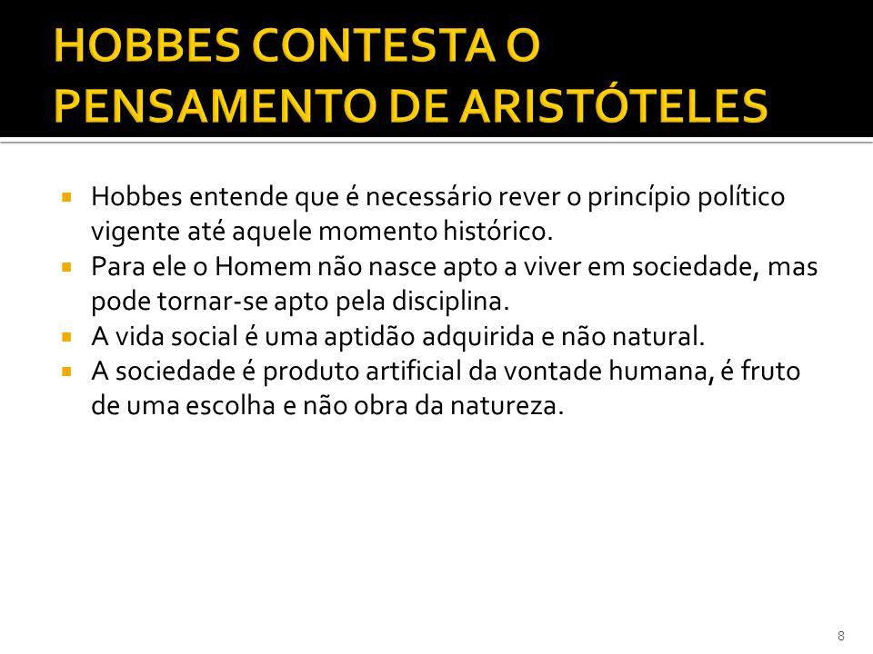 HOBBES CONTESTA O PENSAMENTO DE ARISTÓTELES