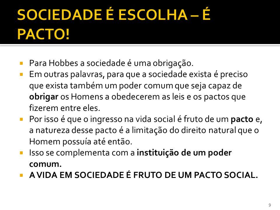 SOCIEDADE É ESCOLHA – É PACTO!