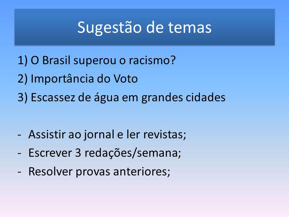 Sugestão de temas 1) O Brasil superou o racismo