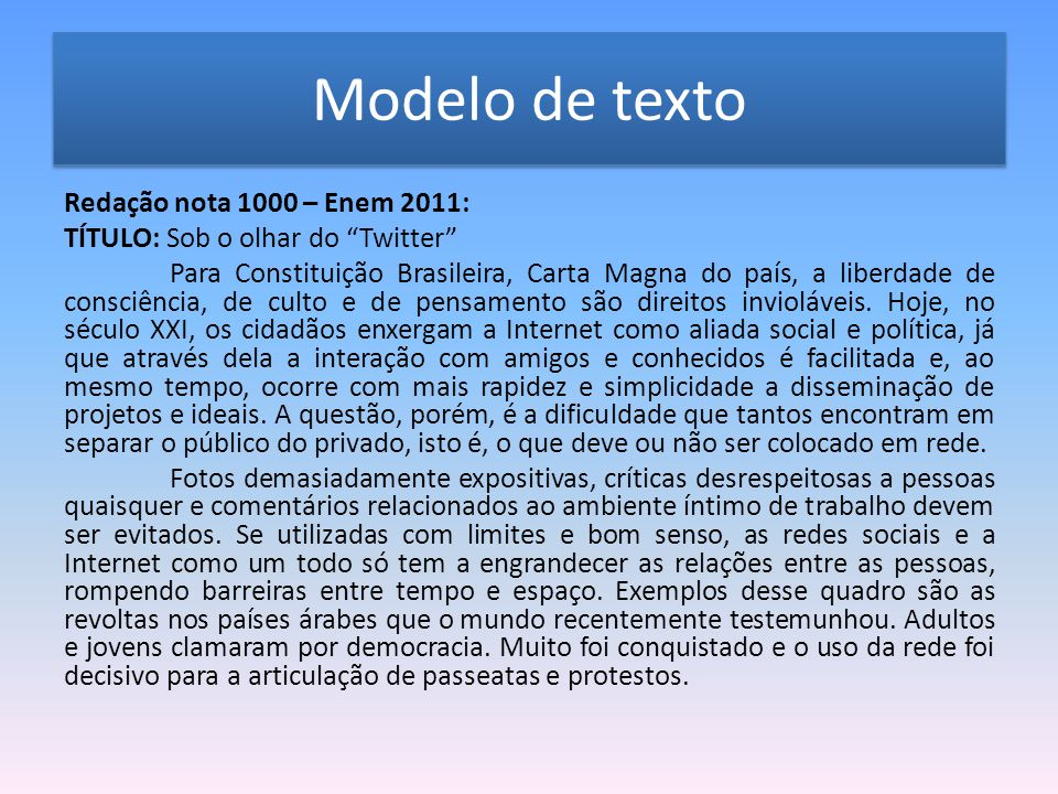 Modelo de texto Redação nota 1000 – Enem 2011: