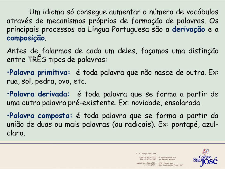 Um idioma só consegue aumentar o número de vocábulos através de mecanismos próprios de formação de palavras. Os principais processos da Língua Portuguesa são a derivação e a composição.