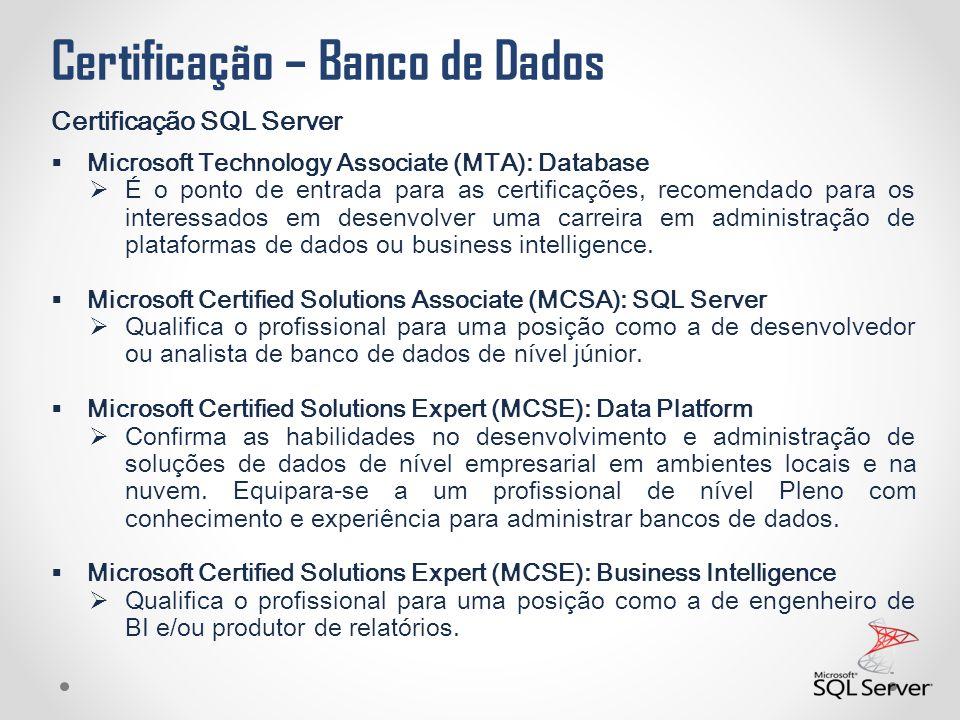 Certificação – Banco de Dados