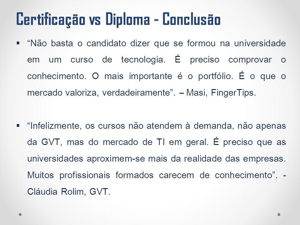 Certificação vs Diploma - Conclusão
