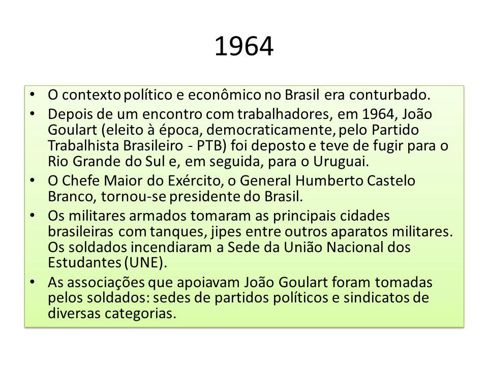 1964 O contexto político e econômico no Brasil era conturbado.