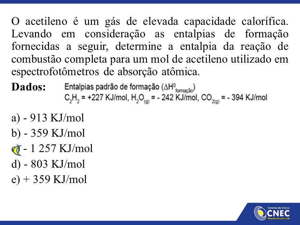 O acetileno é um gás de elevada capacidade calorífica