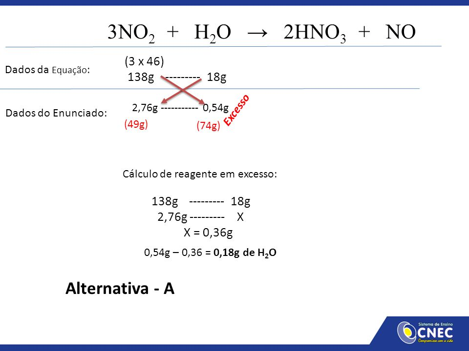 3NO2 + H2O → 2HNO3 + NO Alternativa - A (3 x 46) 138g --------- 18g