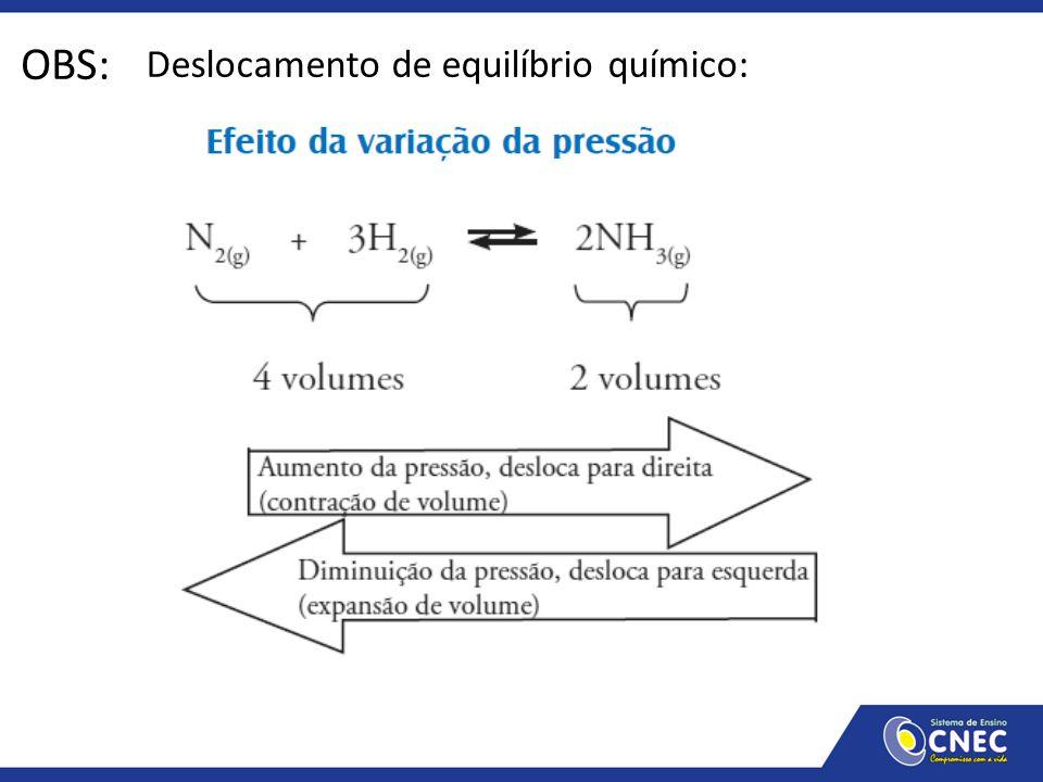 OBS: Deslocamento de equilíbrio químico: