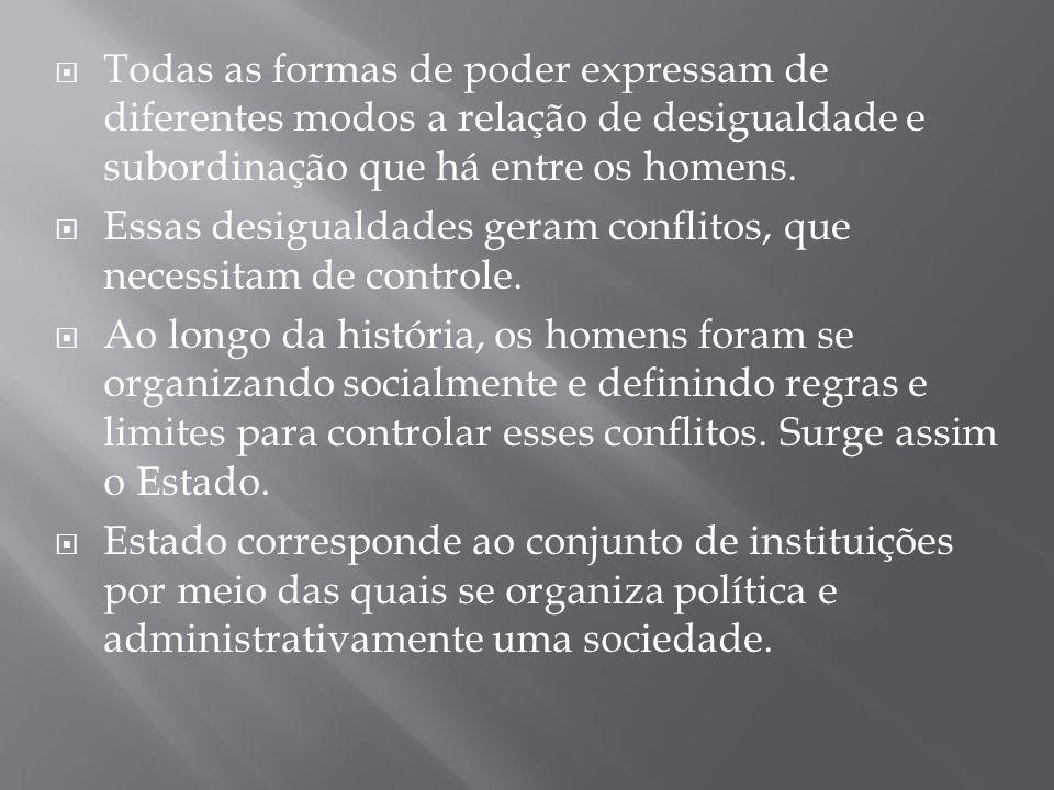 Todas as formas de poder expressam de diferentes modos a relação de desigualdade e subordinação que há entre os homens.