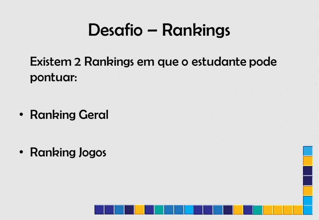 Desafio – Rankings Existem 2 Rankings em que o estudante pode pontuar: