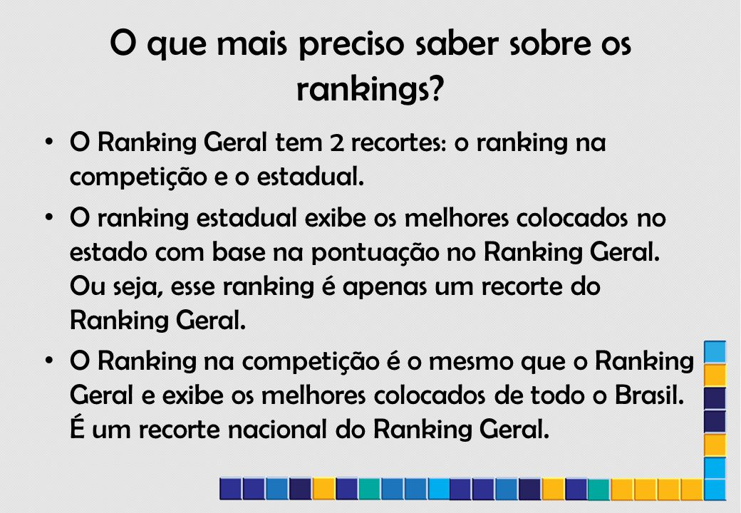 O que mais preciso saber sobre os rankings