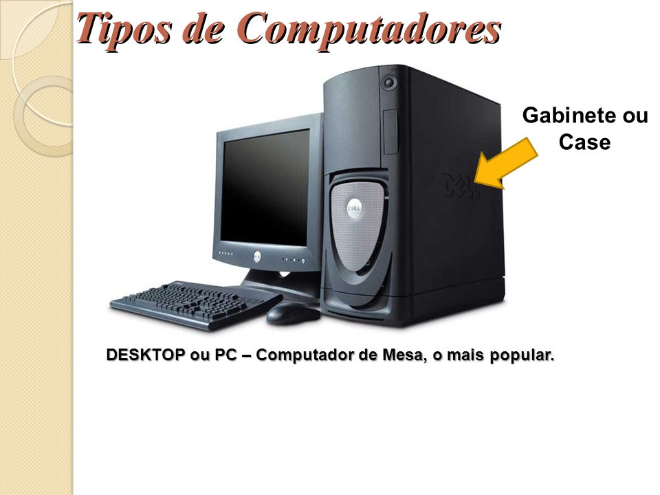 DESKTOP ou PC – Computador de Mesa, o mais popular.