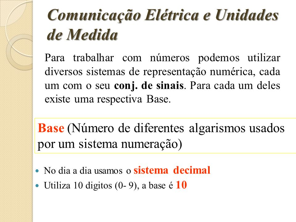 Comunicação Elétrica e Unidades de Medida