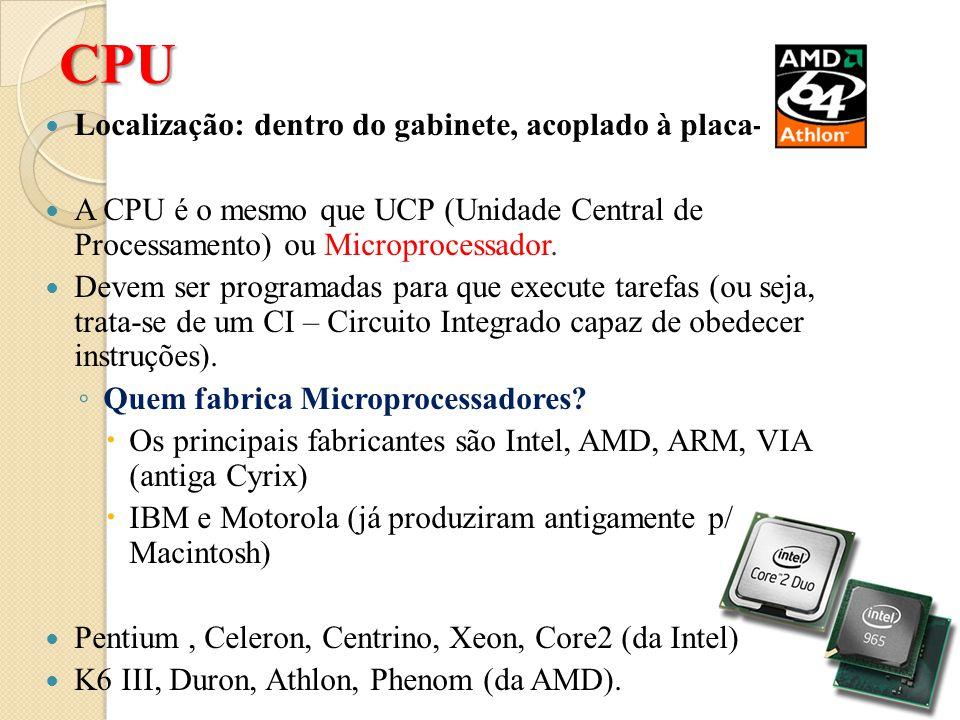 CPU Localização: dentro do gabinete, acoplado à placa-mãe)