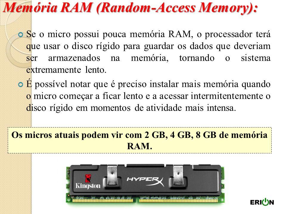 Os micros atuais podem vir com 2 GB, 4 GB, 8 GB de memória RAM.
