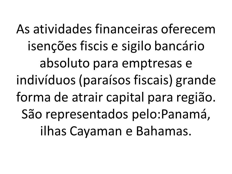 As atividades financeiras oferecem isenções fiscis e sigilo bancário absoluto para emptresas e indivíduos (paraísos fiscais) grande forma de atrair capital para região.