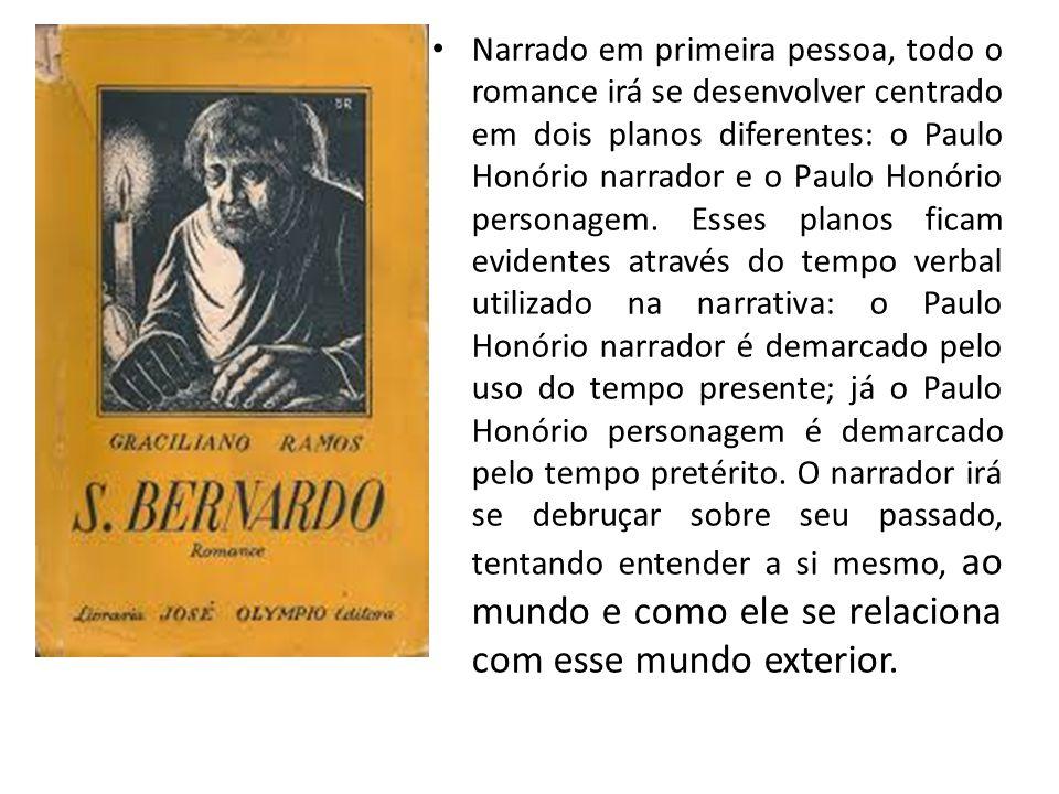 Narrado em primeira pessoa, todo o romance irá se desenvolver centrado em dois planos diferentes: o Paulo Honório narrador e o Paulo Honório personagem.