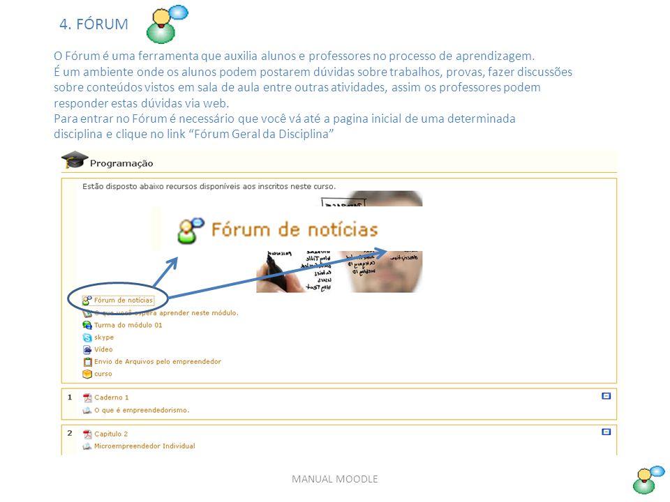 4. FÓRUM O Fórum é uma ferramenta que auxilia alunos e professores no processo de aprendizagem.