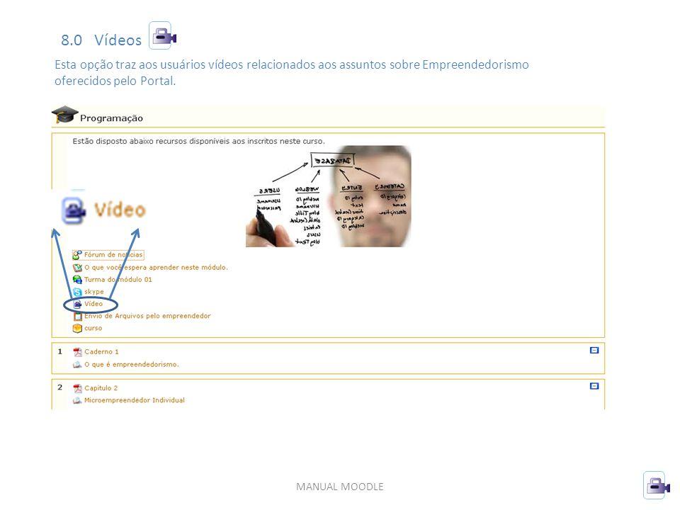 8.0 Vídeos Esta opção traz aos usuários vídeos relacionados aos assuntos sobre Empreendedorismo. oferecidos pelo Portal.